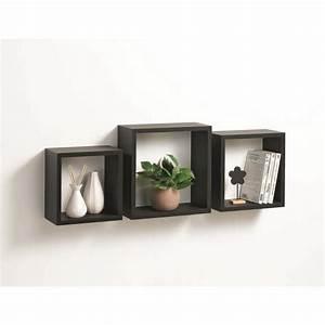 Etagere Cube Noir : lot de 3 tag res murales cube 30cm noir ~ Teatrodelosmanantiales.com Idées de Décoration