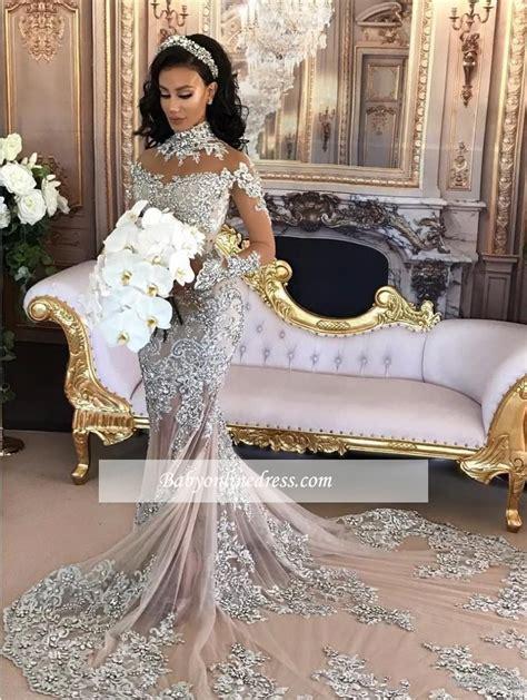 Silver Long Sleeve Mermaid Lace High Neck Luxury Wedding