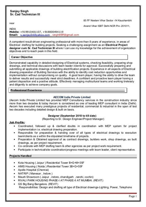 Cad Resume Objective by Resume 30 07 2015