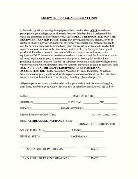 equipment rental agreement template uk template