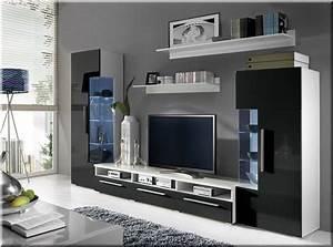 Möbel Wohnzimmer Modern : wohnzimmer wohnwand roma hochglanz schwarz anbauwand mit led 5 teilig neu ~ Buech-reservation.com Haus und Dekorationen