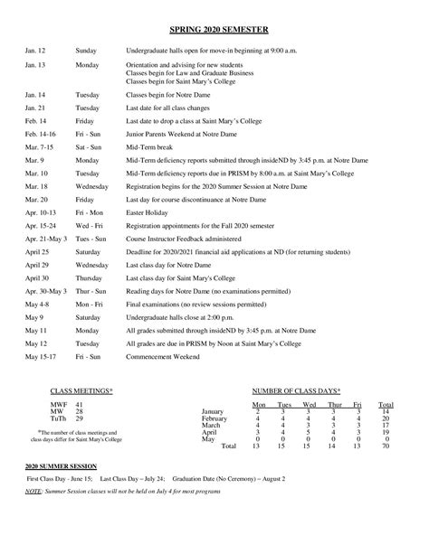 notre dame academic calendar printable hd images
