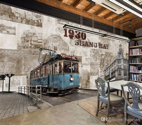 shanghai retro architecture tram photo wallpaper mural