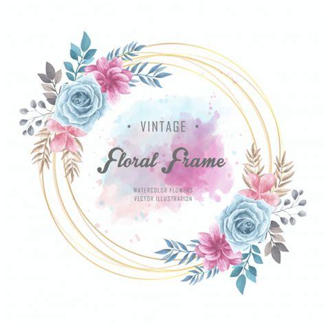 Watercolor floral flowers circle frame golden vintage