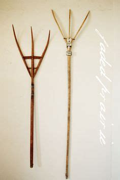 Antique Wooden Hay Pitchfork Mixed Medley Outdoors