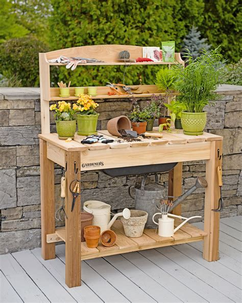 potting bench cedar potting table  soil sink  shelves