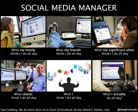 Social Media Memes - social media manager how people see me what they think i do firebelly social media