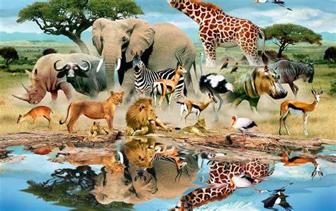 animals animal world mural trees grass water