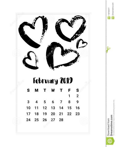 calendar month template hand hand drawn calendar 2019 february month concept design