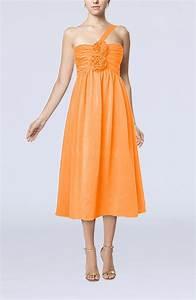 orange casual one shoulder sleeveless chiffon pleated With orange wedding guest dress