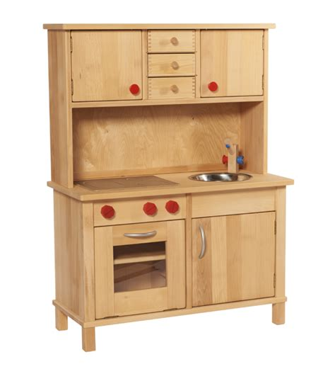 Beech Wood Play Kitchen Complete With Overhead Cupboards