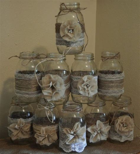 set of 10 mason jar sleeves burlap wedding decorations