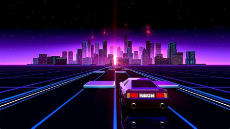 80s Neon City Wallpaper by 76 Neon 80s Wallpapers On Wallpaperplay