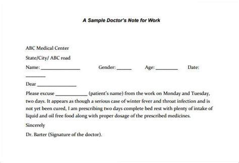 printable doctors note  work templates  word