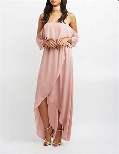 off the shoulder maxi wrap dress charlotte russe With off the shoulder wedding guest dresses