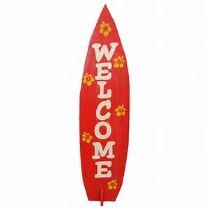 Wooden Surfboard Welcome Sign 36""