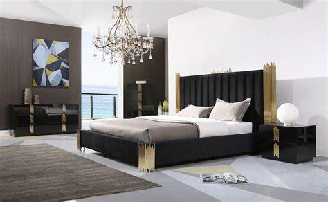 Modern Black Bedroom Furniture by Modrest Token Modern Black Gold Bedroom Set