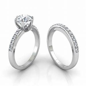 Six prong pave diamond engagement ring matching wedding for Pave wedding rings