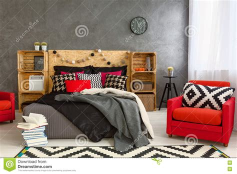 cozy bedroom in grey with beautiful home decorations cozy bedroom in grey with beautiful home decorations stock photo image 70467938