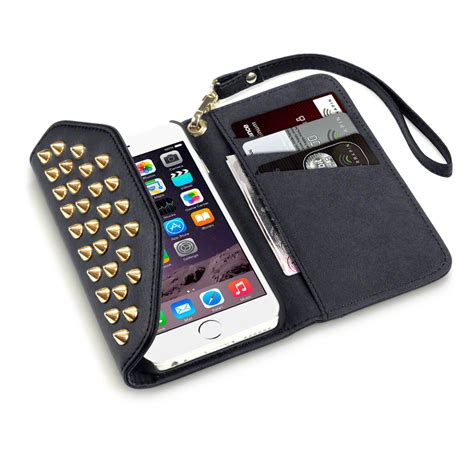 wallet for iphone 6 black trendy studded rock chic purse style wallet for