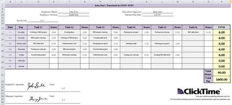timesheet schedule free excel time tracking template weekly timesheet