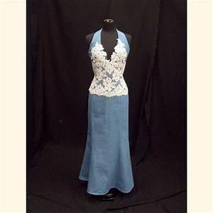 Denim wedding dresses celebrities in designer jeans from for Jean wedding dress