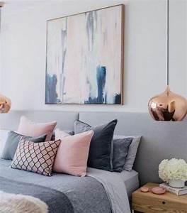 Salon Gris Et Rose : d co salon id e d co chambre cocooning linge de lit en gris et rose lit gris couleur pein ~ Preciouscoupons.com Idées de Décoration