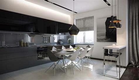 coin repas cuisine moderne salle à manger design dans un petit appartement de ville