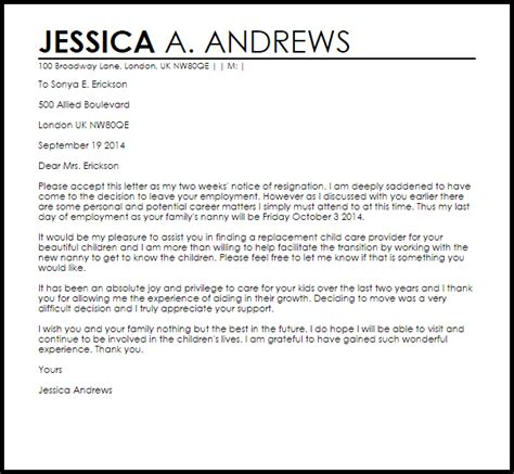 image  nanny resignation letter samples nannying