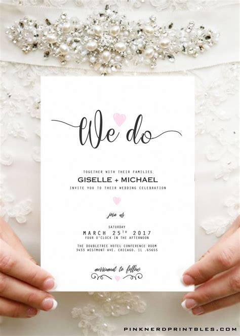wedding invitation typography elegant pink heart