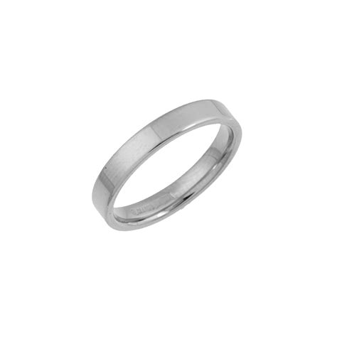9kt white gold heavy flat court 3mm wedding ring