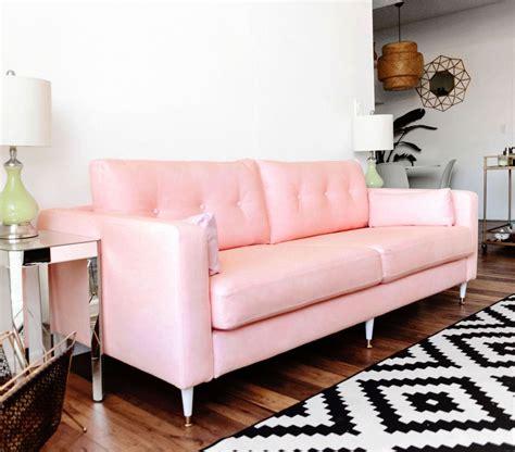 Pink Leather Sofa Set by Karlstad Sofa Ikea Hack Mid Century Inspired Pink Sofa