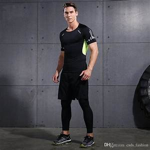 2018 Men Gym Clothing Fitness Wear Sports Suits Bodybuilding Compression Tights T Shirts And ...