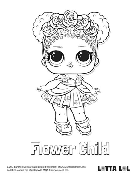 flower child coloring page lotta lol lol surprise