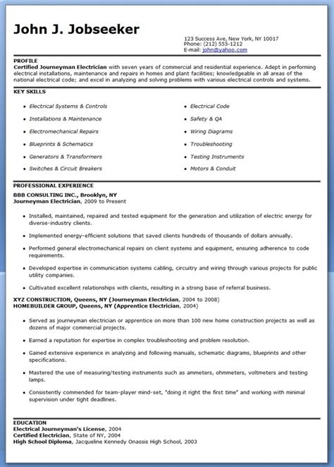 Lineman Resume Template Journeyman Electrician Resume Sles Creative Resume Design Templates Word