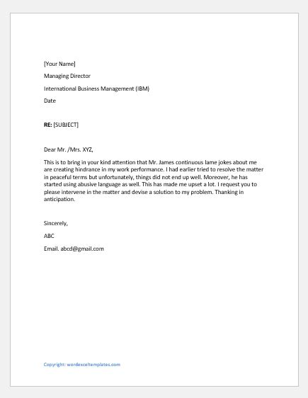 complaint letters  supervisor   reasons word