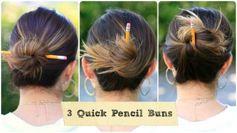 easy pencil bun ideas   school hairstyles cute