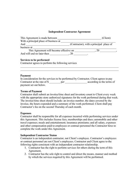 contractor agreement template danetteforda