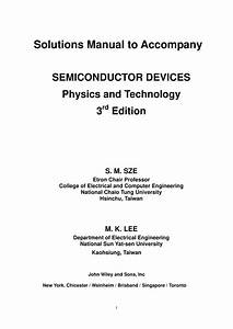 Solutions Manual To Accompany Semiconductor Devices