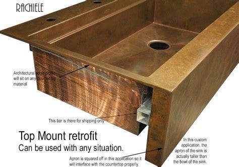 copper apron sink retrofit copper apron farmhouse sinks top mount or