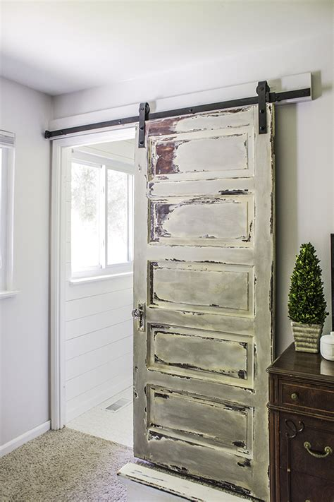 master bathroom barn door shades  blue interiors