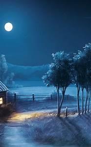 Landscape Night Moon Stars  Full Hd 2k Wallpaper