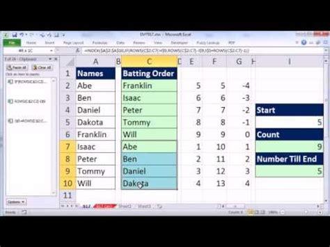 excel magic trick  rotating list  formula