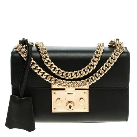 gucci black leather small padlock shoulder bag gucci tlc