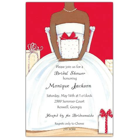 red african american bridal shower invitations paperstyle
