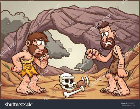 Cartoon Cavemen Looking Skull Vector Clip Stock Vector