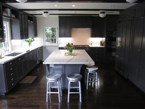 gray kitchen cabinets  white marble countertops