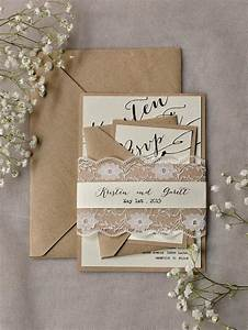 rustic lace wedding invitations 20 calligraphy wedding With lace belly band for wedding invitations