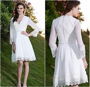 bohemian wedding dresses long sleeves wedding dresses With plus size knee length wedding dresses with sleeves