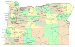 Oregon State Physical Map with Cities